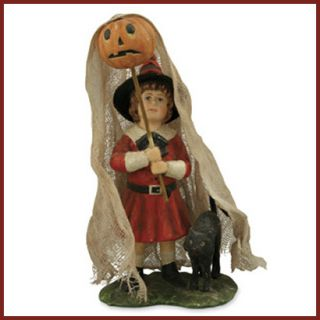 Bethany Lowe Halloween Witch Ghost Girl Figure Black Cat Pumpkin Retro