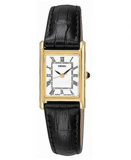 Seiko Watch, Womens Black Leather Strap 17mm SXGN42   All Watches