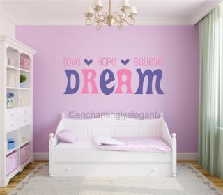 Love Hope Believe Dream Vinyl Decal Wall Sticker Words Lettering Teen