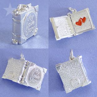 love story book charm pendant opens to reveal red hearts