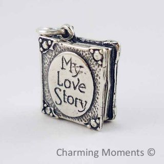 Sterling Silver 925 Charm My Love Story Book Bead 075
