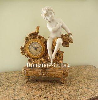 Louis XV Rococo Empress Marie Louise Cherub Statue Mantel Clock