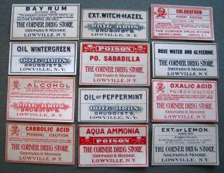 12 dif Lowville NY Old Medicine Poison Bottle Labels Diog Bros Shepard