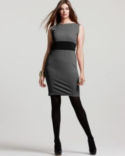 Love ady New Gray Colorblock Sleeveless Wear to Work Dress Plus 2X