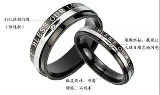 Steel Wedding Band Lets Bless Our Love Engraved w/GEM Couple Rings