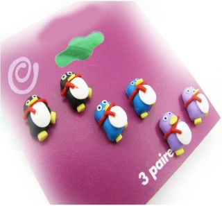 Fashion Womens Girls Lovely QQ Penguin Stud Earrings  New