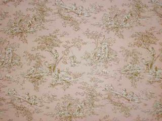 Pink Brown Blush Central Park Decorator Cherub Nursery Toile Fabric
