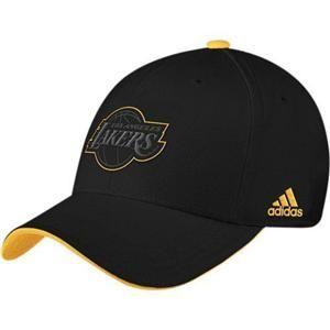 adidas Los Angeles LA Lakers Black & Gold Tonal Pop Flex Fit Hat Cap