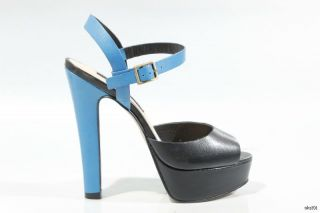 New Steven by Steve Madden Ravve Black Blue Leather Platforms Heels