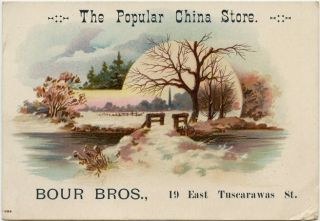 Advertising Trade Card, Bour Bros., The Popular China Store, Canton