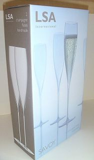 LSA International 2 Elegant Gold Rim Savoy Champagne Flutes Glasses