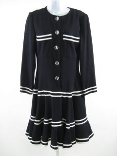 Louis Feraud Black White Trim Long Sleeve Dress Sz 6