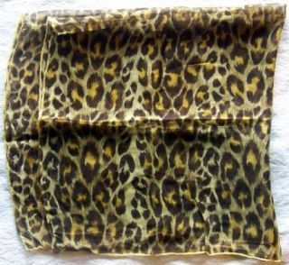 Vtg Square Scarf Animal Print Brown Yellow Sheer Chiffon Head Wrap