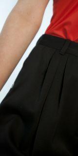 Vtg Chic Luciano Soprani Wool Jet Black Pants Euro 46 Mint