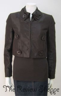 Luisa Cerano 2 Piece Jacket and Long Sleeve Shirt Set Dark Brown Size