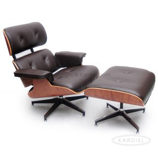 Lounge Chair Ottoman Brown Genuine Aniline Leather Palisander Plywood