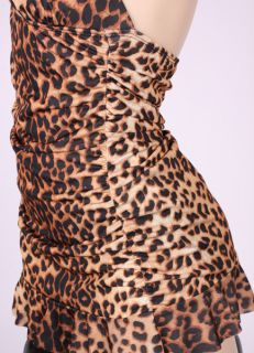 50s New Vtg Style Retro Rockabilly Pinup Leopard Halter Swimsuit