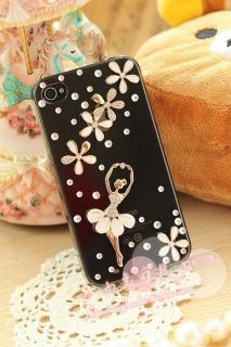 Handmade Sweet Diamond Dancing Girl Luckey Leaf Case Cover for IPHONE5