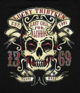 Lucky 13 Twin Forks Devil Skull Last Call T Shirt Tee