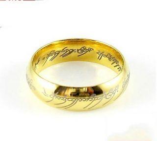 Fashion Nice LOTR Mens 18K Gold GP Band Wedding Ring Width 6mm Size