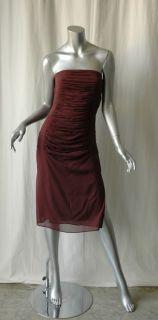 Yves Saint Laurent Brown Silk Ruched Strapless Dress 40