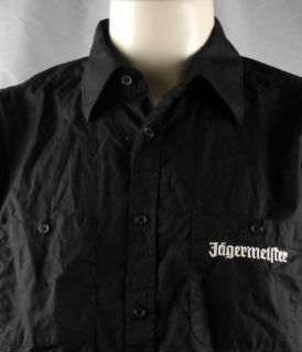 Logo Mens Button Front Lounge Shirt Large Black German Liqueur