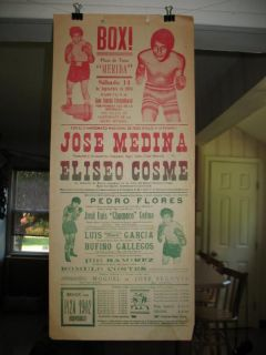 1974 Jose Medina vs Eliseo Cosme Vintage on Site Boxing Poster Mexico