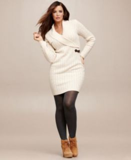 Cold Weather Chic Plus Size Striped Sweater Dress Look   Plus Sizes