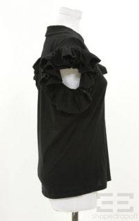 Lutz Patmos Black Organic Cotton Ruffle Sleeve Top Size M