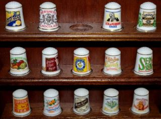 Franklin Mint Country Store Thimbles and Wood Display Rack 24 Thimbles