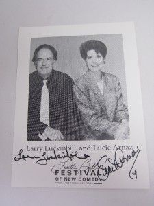 Festival Comedy Jamestown signed card LUCIE ARNAZ, LARRY LUCKINBILL