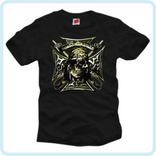 Loyal to None Iron Cross Skull Cool Biker T Shirt Cool Gothic Death