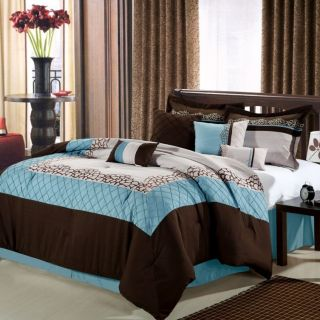 8PC Luxury Bedding Set Mustang Blue Brown Beige Bed Sheet Pillows Bed