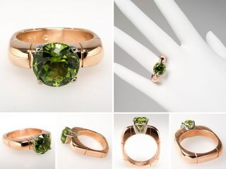 Alishan Designer Natural Peridot Ring Solid 18K Rose Gold Fine Estate