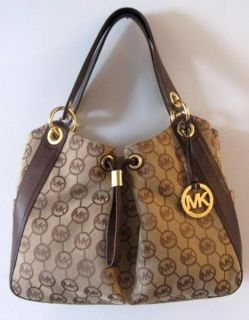 Michael Kors Ludlow Large Shoulder Bag Mocha Monogram Leather Trim New