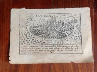 Sweden Lunden Lund City Braun Hogenberg 1617 Antique Map