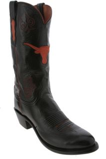 Lucchese Black University of Texas NCAA Mens Cowboy Boots