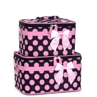 Piece Polka Dot Rolling Luggage Set Black Pink