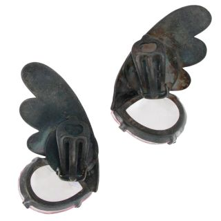 Luigi Briglia Vintage Clip Earrings Big Large Winged Gun Metal Pink