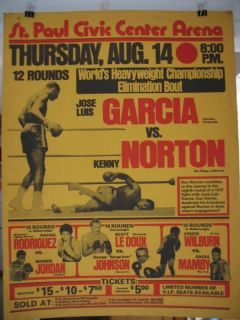 1975 Ken Norton vs Jose Luis Garcia Vintage on Site Boxing Poster St