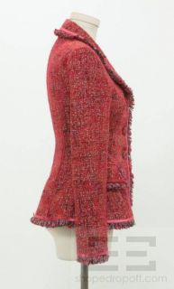 Luisa Beccaria Red Silver Woven Fringe Jacket Size 38