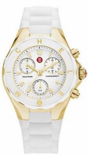 Michele Tahitian Jelly Bean Gold Plated Chronograph White Rubber