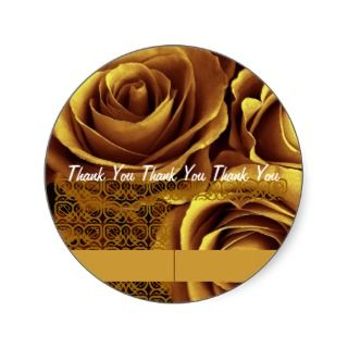 GOLD Roses   Wedding Thank You Envelope Seal Round Stickers