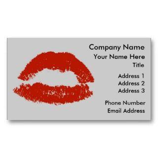 Red Pop Art Lipstick Lips Business Card Template