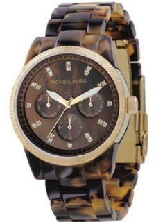 Michael Kors Gold Tone Womens Watch Acrylic Bracelet MK5038
