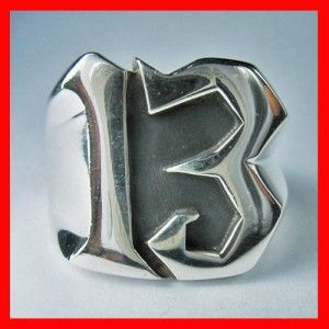 Heavy Huge 13 Lucky Number 925 Solid Sterling Silver Ring Biker Rider