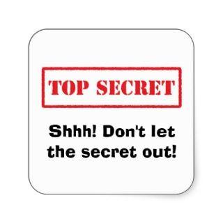 Top secret. Shhh Dont let the secret out stickers