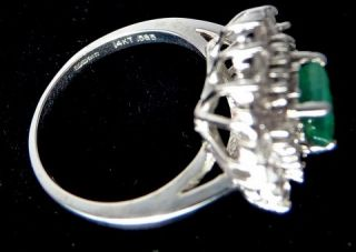 New Franklin Mint Sz 10 14k White Gold Ring 1 Emerald 4 Diamond 24 Wht