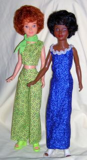 Ideal AA and Caucasian Magic Hair Crissy Dolls in Custom Outfits