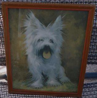 Vintage Framed Print West Highland White Terrier Dog Signed Florence